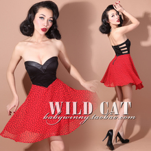 FREE SHIPPING Limited edition vintage sweet pin up red polka dot sexy cutout expansion bottom tube top dress