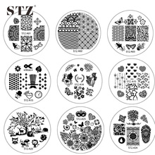 1PCS NEW Designs Round Stainless Steel 30 Designs DIY Image Stamping Nail Art Plates Templates Stencils STZA01-30