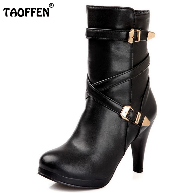 Free shipping high heel ankle half short boots women snow fashion winter warm footwear boot P14720 EUR size 32-48<br>