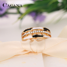 CACANA Cubic Zirconia Rings For Women Geometry Strip Trendy Zinc Alloy Rings Jewelry Bijouterie Wholesale  NO.R542