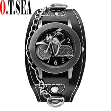 Buy 2017 Top O.T.SEA Brand Motorcycle Leather Watch Men Women Fashion Sports Quartz Wrist Watch Relogio Masculino 1831-4 for $2.39 in AliExpress store