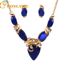 White/Blue/Black Bohemian Resin Stone Jewelry Sets For Women Bijoux NYJS108 3 Colors Unique Jewelry Set Elegant Design