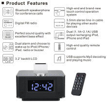 H7 Bluetooth V2.1+EDR Dual USB Speaker Docking Station for Android For iPhone for iPad With Radio Alarm Clock L3FE