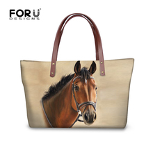 FORUDESIGNS 3D Crazy Horse Handbags For Woman Casual Travel Large Tote Bags Animals Women Bag Messenger Bag Feminine Bolsas N(China)