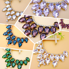 4.5x10cm Strass Crystal Glass Material Sewing On Rhinestones Applique rhinestone gold strass coser