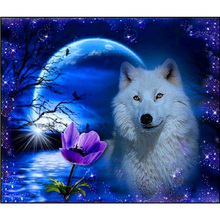 Top Fashion Diamond Embroidery Diy Diamond Painting Mosaic Picture Pattern Cross Stitch Full Rhinestone Wolf and flowers B45(China)