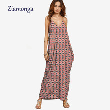 Ziamonga Topshop Fashion Women Geometric Printed Dress Casual Beach Dresses For Summer Autumn Holiday Maxi Dress Vestido Longo