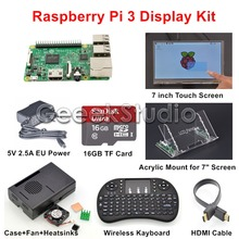 Original Raspberry Pi 3 16GB Starter Display Kit with 7 inch 1024*600 Touch Screen + 5V 2.5A EU/US/UK/AU Power Supply