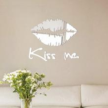 3D Acrylic mirror sticker set Kiss Me Lips design bedroom decal 3D wall stickers Art Mural gold.silver on sale(China)