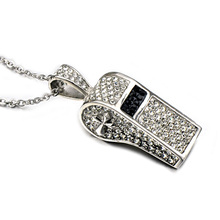 HIP Hop Iced Out Pave Rhinestone Titanium Stainless Steel Outdoor Sports Cross Whistle Music Pendants Necklaces for Men Jewelry