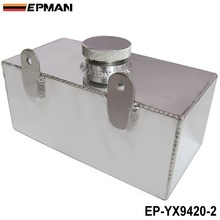 EPMAN 2L Aluminium Universal Polished Windscreen Washer Bottle Intercooler Spray Tank With Cap Kit Track Car EP-YX9420-2