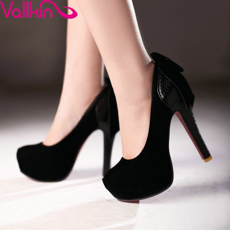 VALLKIN  Autumn/Spring Round Toe Slip On Women Pump Thin High Heels Platform Scrub Bow Tie Party Lady Shoes Size 34-43 Black<br><br>Aliexpress