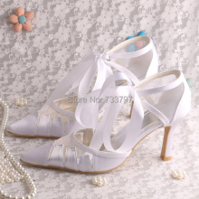Magic Bride White Wedding Heels Women Plus Size Shoes Pointed Toe Size 8