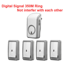 wireless bell kits w/ 4 emitters+1 receiver wireless doorbell Waterproof 380 Meter door chime door ring digital signal ring