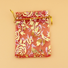 100pcs/lot 15x20cm Red Rose Organza Bags Drawable Cosmetics Jewelry Candy Packaging Bags Pouches Cute Organza Gift Bag(China)