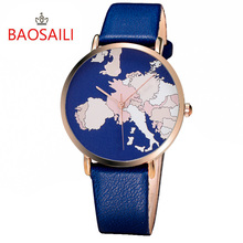 BSL1015 BAOSAILI Branded Fancy World Map Quartz Movement Wrist Watch Gold Plating Case Watch Multi Color Leather Strap