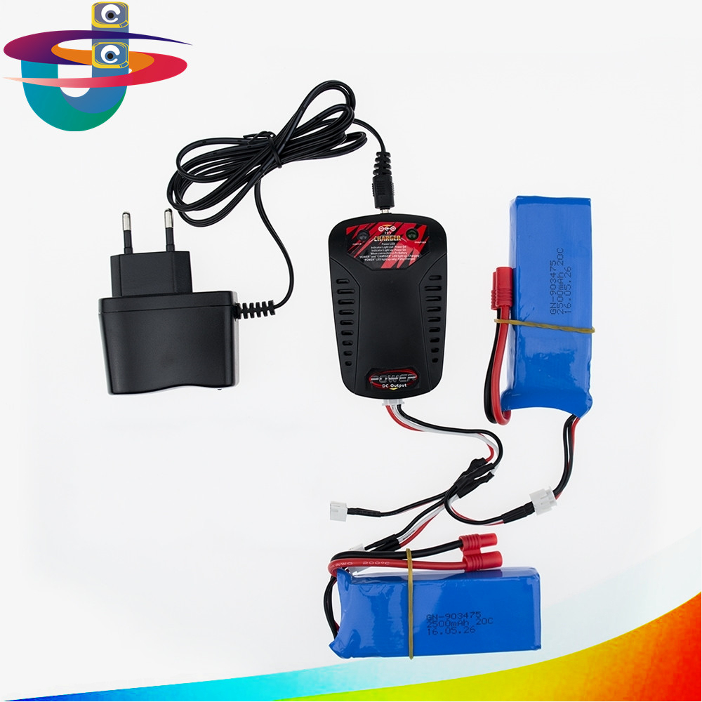 7.4V 2500mAh Li-Po Battery 2pcs with charger for SYMA X8 X8C X8W X8G BANANA plug RC Drone Quadcopter Parts Remote Control Toy<br>