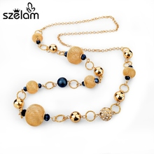 Szelam Colliers 2016 Yellow African Beads Necklace Women Gold Chain Statement Necklaces & Pendants Vintage Jewelry SNE150827(China)