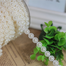 Diy material 10meters White Plum flower line connection strings ABS imitation pearl bead chain wholesale wedding decoration