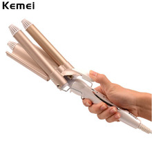 110-240V Professional Triple Barrel Ceramic Hair Wave Waver Curling Iron Wand Tong Hair Pearl Waving Styling Tools Twiste Iron(China)