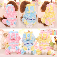 Pink Yellow Blue Color Xs-xl Size Warm Dog Clothes for Autumn and Winter Soft Fabric Cute Design Thickening Coats for Pet Shop