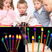 12pcs/pack Multicolour Flame Birthday Candle Home Decoration Colorful Color Flame Candles For Wedding Party S5136(China)