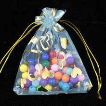 Wholesale 200pcs/lot 7x9cm Light Blue Jewelry Organza Bag Favour Heart Wedding Candy Bag Pouches Small Christmas Gift Bags(China)