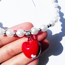 Fashion Red Heart Pet Puppy Dog Cat piggy Pearl Necklace Pet Accessories Love Pendant Pets Dogs Cats Collar & Ldads Jewelry