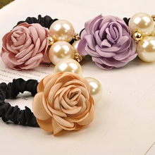 2017 Fashion hair ornaments big pearl rose flower hair camellia hair rope headdress diamond studs Rose Lovely Hair Accessories