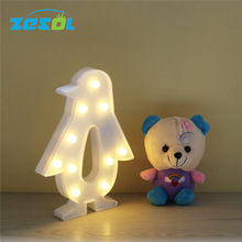 ZESOL  Penguin design  LED night light Battery Operated Luminaria Desk Lamp For Kids Gift Decor Night lamp