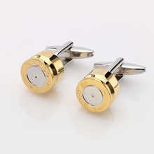 JIN&JU Promotion Bullet Design Cuff links for Mes New Fashion Gold Color Plated Bullet Style Best Gift For Men(China)