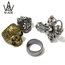 WAOE Brand Retro Puck Skull Head Female Rings For Women Vintage Silver Plated Flowers Cross Finger Rings Set Party Jewelry GIft