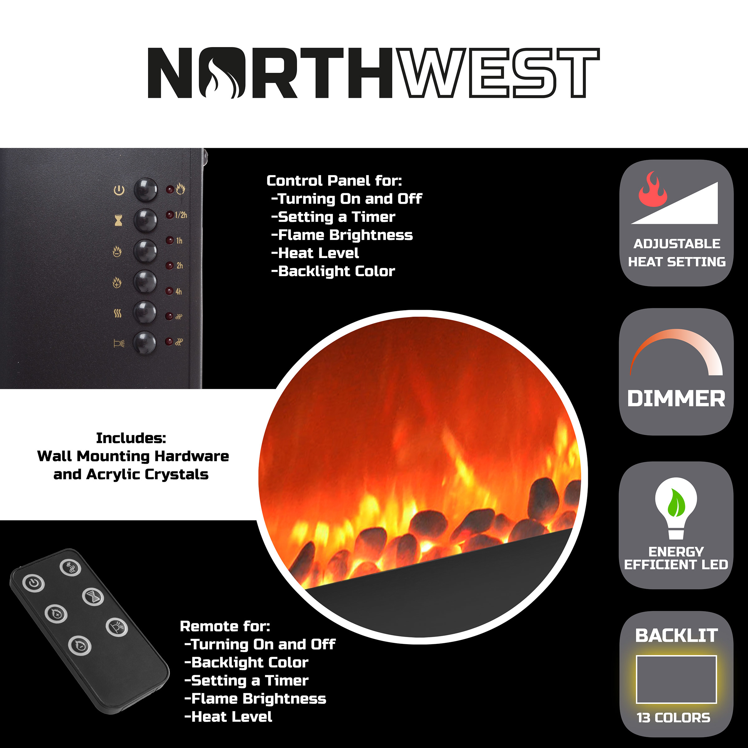 Electric Fireplace Wall Mounted Adjustable Heat Remote Backlight Colors Timer LED Flames 30.5 Inches (2)