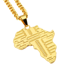 NYUK Trendy Gold Africa Map Pendant Necklace With 75cm Cuban Chain Hip Hop Jewelry Men Women Fashion Bijouterie With Gift Box(China)