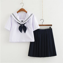 New Fashion Navy Sailor Collar Top+Skirt Japanese Teenage Students Clothes Plus Size School Girl Uniform OY-X0623(China)