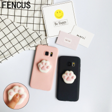 FENCUS For Samsung Galaxy S6 Edge S7 Edge S8 S8 Plus Note 4/5 Case Squishy 3D Silicon Cartoon Lazy Cat Bear Paw Cute Phone Case