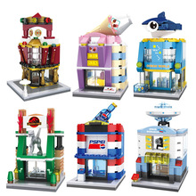 Hsanhe City Mini Street Series Ocean World Dinosaur Park UFO Space Research Shop Building Blocks Bricks Toys Compatible Legoedly(China)