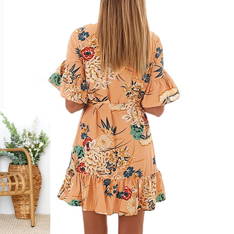 Lossky Summer Women Beach Dress 2018 Bohemian Floral Print Boho Dress O-Neck Short Sleeve Ruffle Mini Chiffon Dress With Belt 20