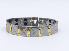 "Mens13.5MM Titanium Magnetic Therapy Link Bracelet Negative Ion Germanium Power Health Wrist Band 8.5"" Golden Silver Tone(China)"