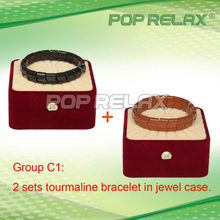 Free Shipping! 2sets Tourmaline magnetic therapy bracelet health anion POP RELAX Group C1