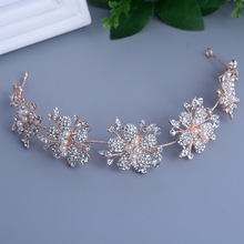 Rose gold pearl bride headdress long hair flowers wedding hair ornaments handmade bridal beach wedding hair decoration