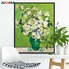 Vincent Willem van Gogh Classic White Rose Floral Oil Painting Canvas Print Painting, Wall Picture For Living Room, Home Decor(China)