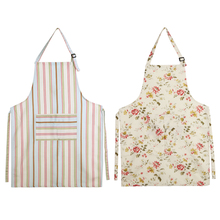 Women Lady Dress Restaurant Kitchen Cooking Cotton Apron Bib Floral Pattern Home Cleanning Tool