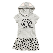 Fashion Girls Clothes Children Dress Grey Hooded Kitten Printed Kids Casual Sports Wear 2-7years Girl - Bestime Children's Store store