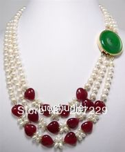 HOT## Wholesale price FREE SHIPPING ^^^^Noblest 7-8mm White Akoya Cultured Pearl Green stone Clasp Necklace