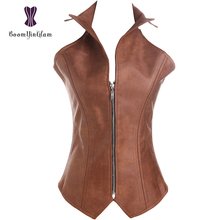 914# Slimming Waist Intimates Leather Bustiers & Corsets Front Zipper Steam Punk Brown Collar Corset(China)