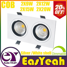 Hot Sale Square CREE 2*(9W 12W 15W 20W) Dimmable /Non COB LED Downlights Fixture Recessed Ceiling Down Lights Lamps CE UL SAA
