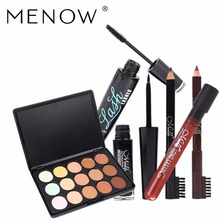 Menow Brand Makeup Set 15color Concealer Thick Mascara Sexy Lip Gloss Long lasting Liquid Eyeliner With 2color Eyebrow Pencil(China)