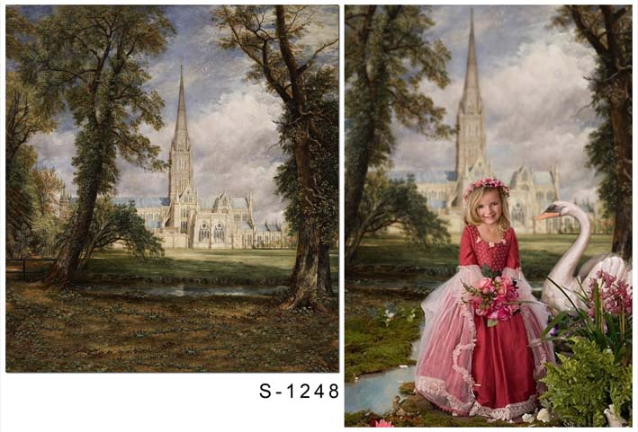 Customize washable wrinkle resistant print fairy castle photo studio backgrounds for children photography backdrops S-1248-A<br>