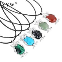 YYW Natural Gems Stone Leather Cord Choker Necklace Owl Animal Turquoises Tiger Eye Opal Quartz Rose Stone Pendant Necklaces(China)